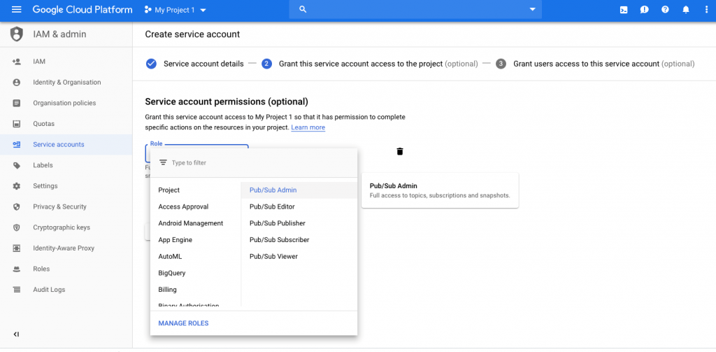 2.-select-role-for-pub-sub-google-cloud-platfrom