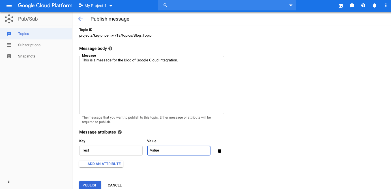 publish a message for your subscription google cloud platform